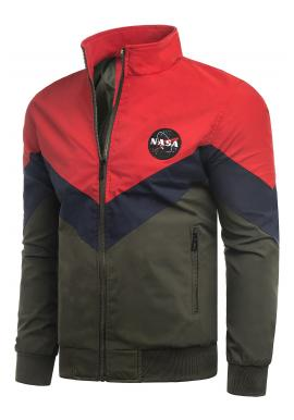 Pánska prechodná bunda bez kapucne v červeno-zelenej farbe