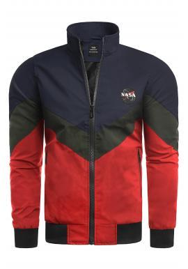 Prechodné pánske bundy modro-červenej farby bez kapucne
