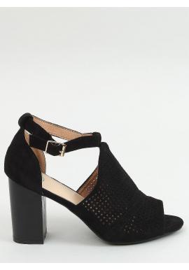 Ažúrové dámske sandále čiernej farby na stabilnom podpätku