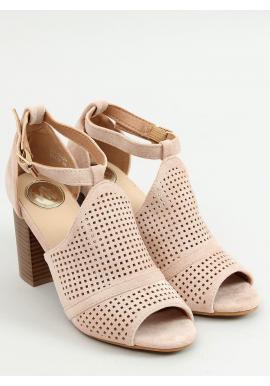 Béžové ažúrové sandále na stabilnom podpätku pre dámy