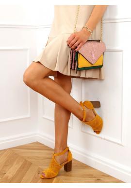 Ažúrové dámske sandále žltej farby na stabilnom podpätku