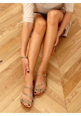 Dámske elegantné sandále s kamienkami v zlatej farbe