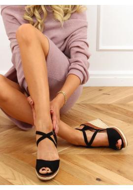Čierne módne espadrilky s klinovým podpätkom pre dámy