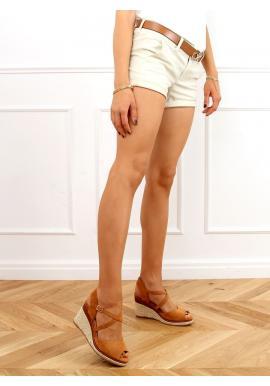 Dámske módne espadrilky s klinovým podpätkom v hnedej farbe