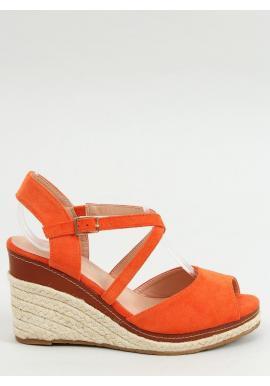 Oranžové módne espadrilky s klinovým podpätkom pre dámy