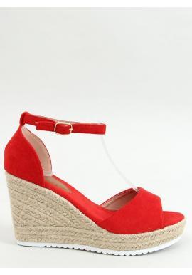 Semišové dámske espadrilky červenej farby s klinovým podpätkom