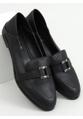 Lícové dámske mokasíny čiernej farby s jemnou ozdobou