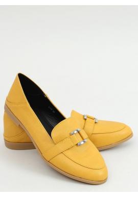 Žlté lícové mokasíny s jemnou ozdobou pre dámy