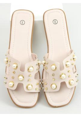 Štýlové dámske šľapky béžovej farby s perlami