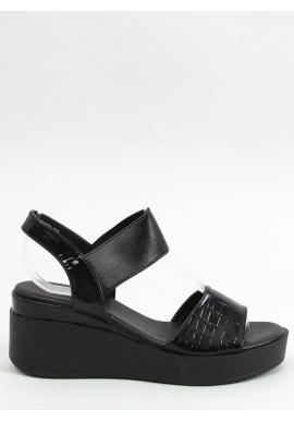 Dámske módne sandále s klinovým podpätkom v čiernej farbe