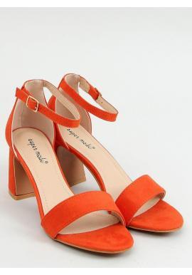 Semišové dámske sandále oranžovej farby na stabilnom podpätku