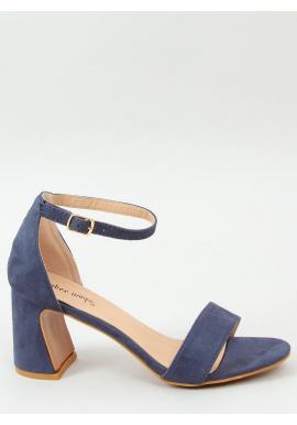 Dámske semišové sandále na stabilnom podpätku v modrej farbe