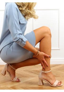 Béžové semišové sandále na stabilnom podpätku pre dámy