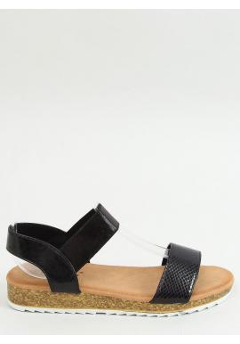 Letné dámske sandále čiernej farby s vysokou podrážkou