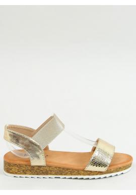 Zlaté letné sandále s vysokou podrážkou pre dámy