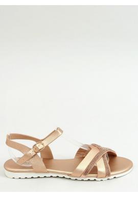 Dámske módne sandále s kamienkami v ružovo-zlatej farbe