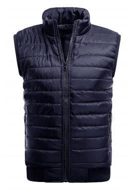 Tmavomodrá oteplená prešívaná vesta bez kapucne pre pánov