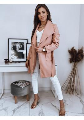 Dámsky štýlový kabát s viazaním v páse v broskyňovej farbe
