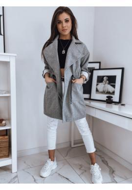 Módny dámsky kabát svetlosivej farby s veľkým golierom
