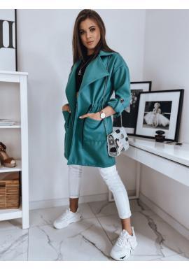 Tyrkysový módny kabát s veľkým golierom pre dámy