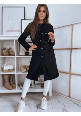Dámsky klasický kabát s opaskom v čiernej farbe