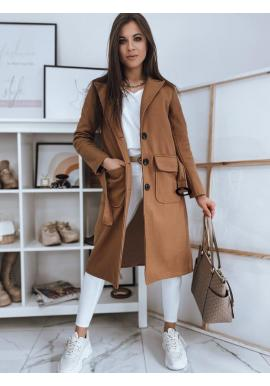 Klasické dámske kabáty hnedej farby s opaskom