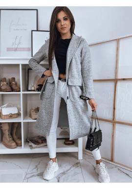 Svetlosivý klasický kabát s opaskom pre dámy