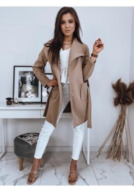 Dámsky štýlový kabát s viazaním v páse v béžovej farbe