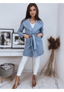 Štýlový dámsky kabát svetlomodrej farby s viazaním v páse