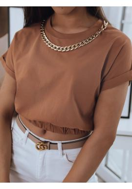 Krátka dámska blúzka hnedej farby so zlatou retiazkou