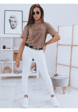 Hnedé bavlnené tričko s krátkym rukávom pre dámy