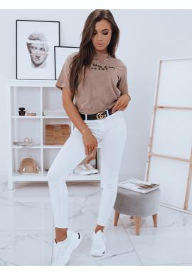 Dámske bavlnené tričko s krátkym rukávom v kapučínovej farbe