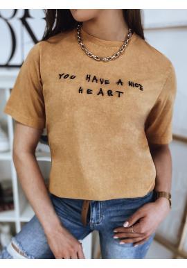 Bavlnené dámske tričko horčicovej farby s krátkym rukávom