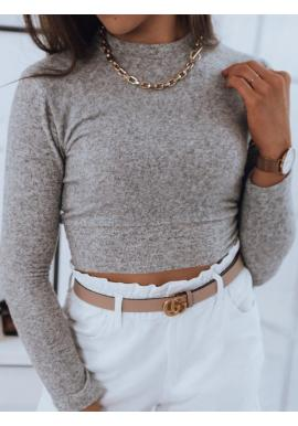 Krátky dámsky sveter svetlosivej farby s okrúhlym výstrihom