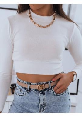 Dámsky krátky sveter s okrúhlym výstrihom v bielej farbe