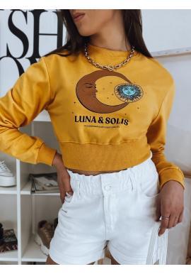 Krátka dámska mikina žltej farby s potlačou