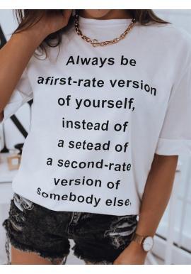 Dlhšie dámske tričko bielej farby s potlačou