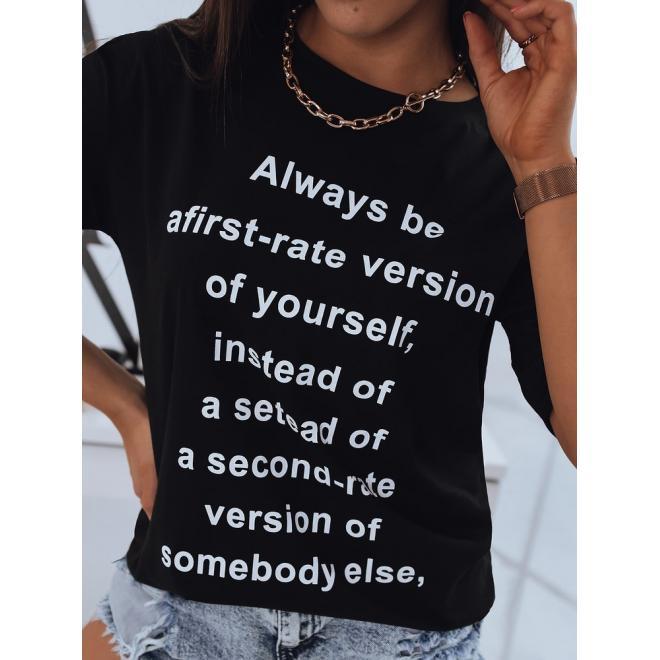 Čierne dlhšie tričko s potlačou pre dámy