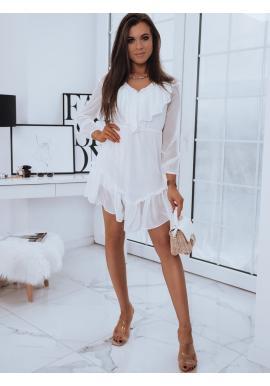Romantické dámske šaty bielej farby s ozdobnými volánmi