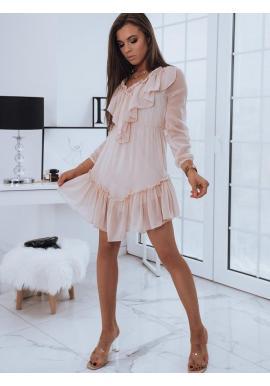 Ružové romantické šaty s ozdobnými volánmi pre dámy