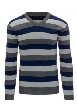Pásikavý sveter tmavomodrej farby pre pánov