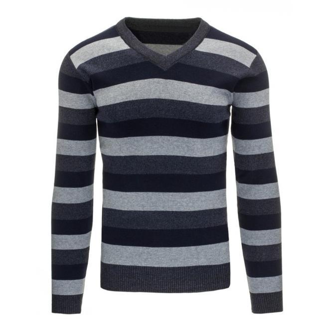 Pánsky sveter modro-sivej farby s výstrihom V