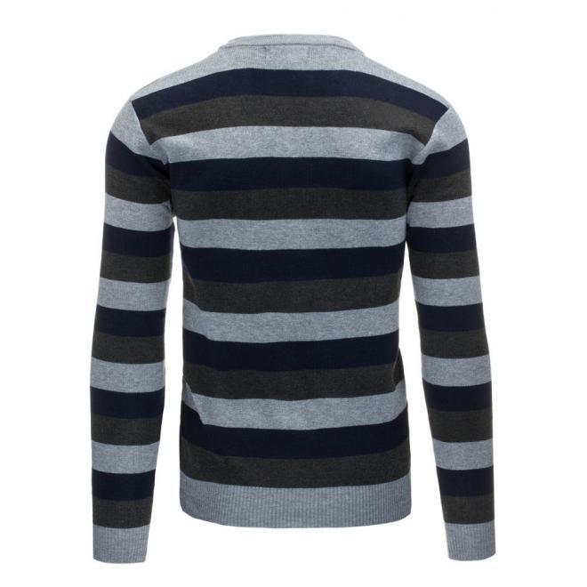 Sivo-modrý pánsky sveter s vodorovnými pásmi