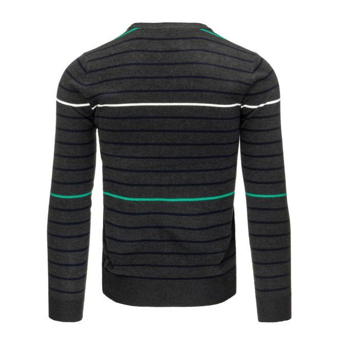 Pánsky béžový sveter s pásikmi a výstrihom V