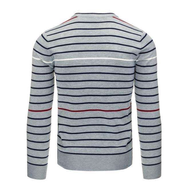 Pásikavý sveter tmavosivej farby pre pánov
