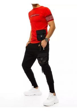 Červeno-čierny komplet trička a nohavíc s potlačou pre pánov