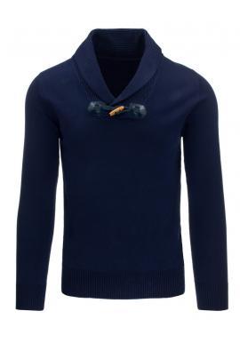 Sivý pánsky sveter s pásikmi a výstrihom V