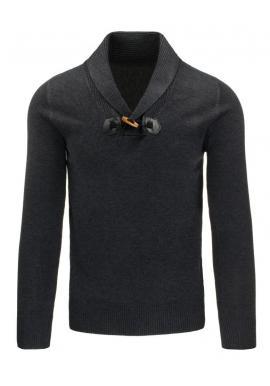 Pánsky sveter so záplatami na lakťoch v čiernej farbe