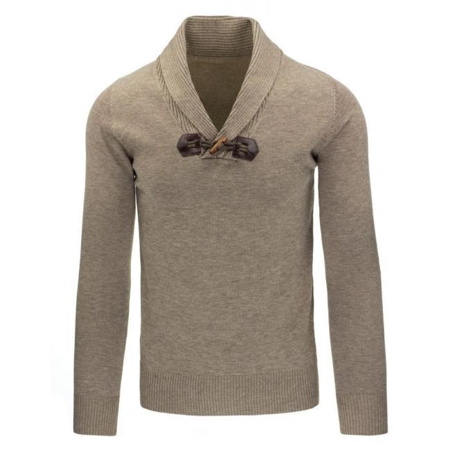 Tmavosivý pánsky sveter s prešívanými záplatami
