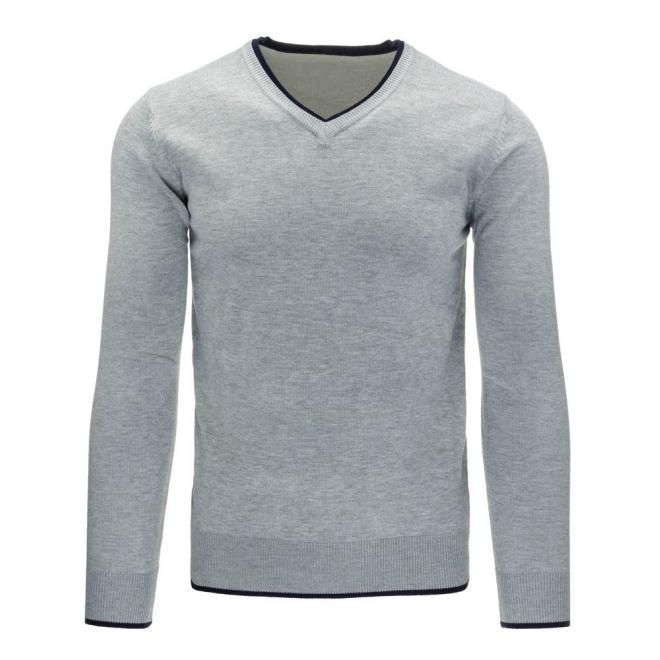 Pánsky tmavosivý sveter s prešívanými záplatami